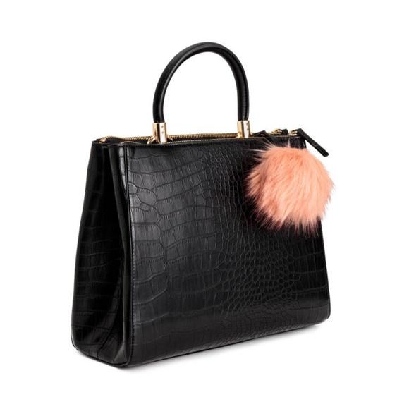 H M Bags   New Hm Black Chic Faux Crocodile Pom Pom Bag   Poshmark d1df5f07fa